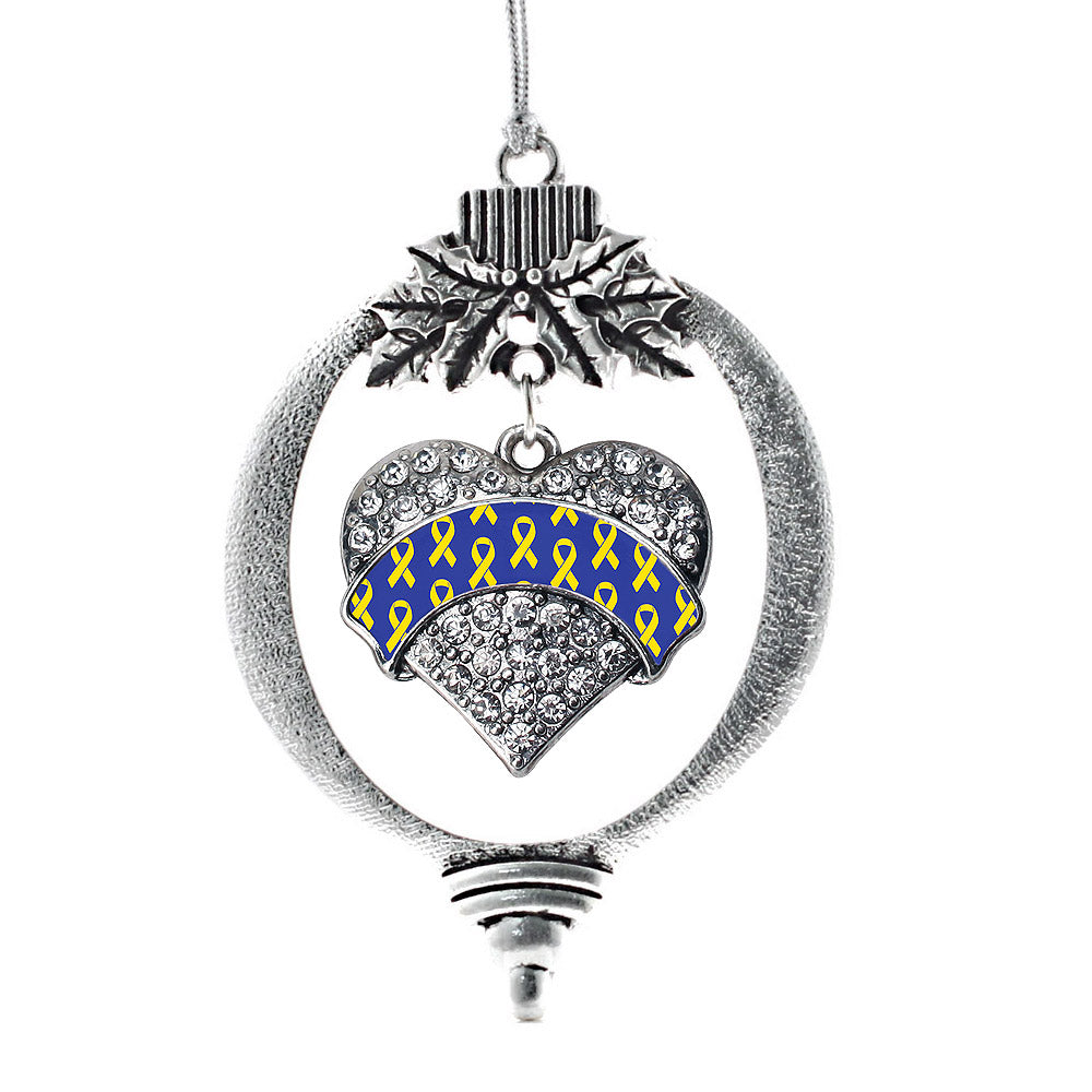 Down Syndrome Awareness & Support Pave Heart Charm Christmas / Holiday Ornament