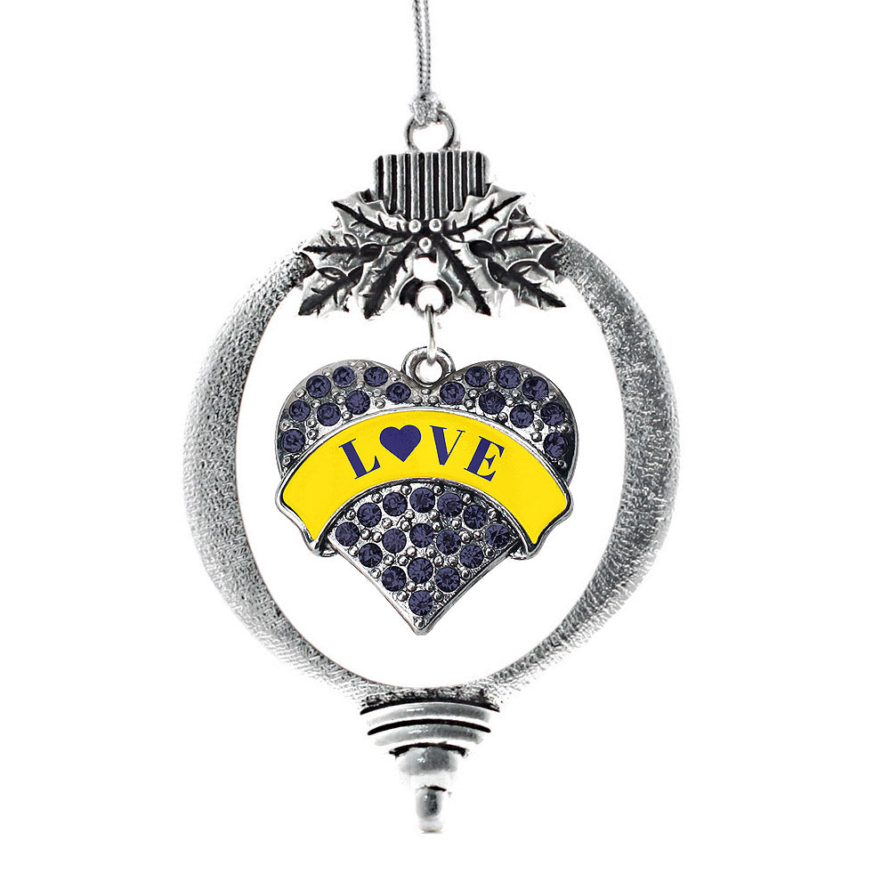 Down Syndrome Awareness & Support Navy Pave Heart Charm Christmas / Holiday Ornament