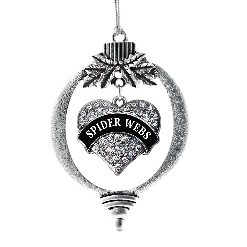 Spider Webs Pave Heart Charm Christmas / Holiday Ornament
