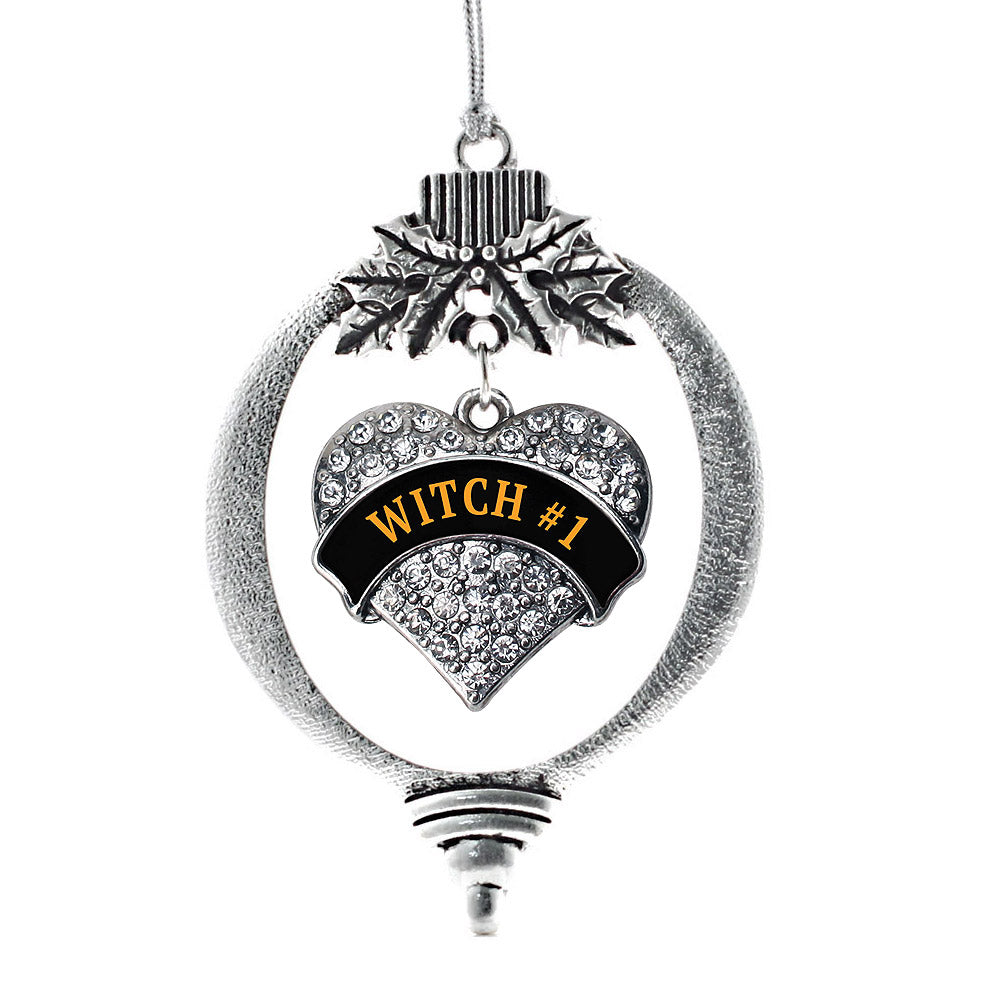 Witch #1 Pave Heart Charm Christmas / Holiday Ornament