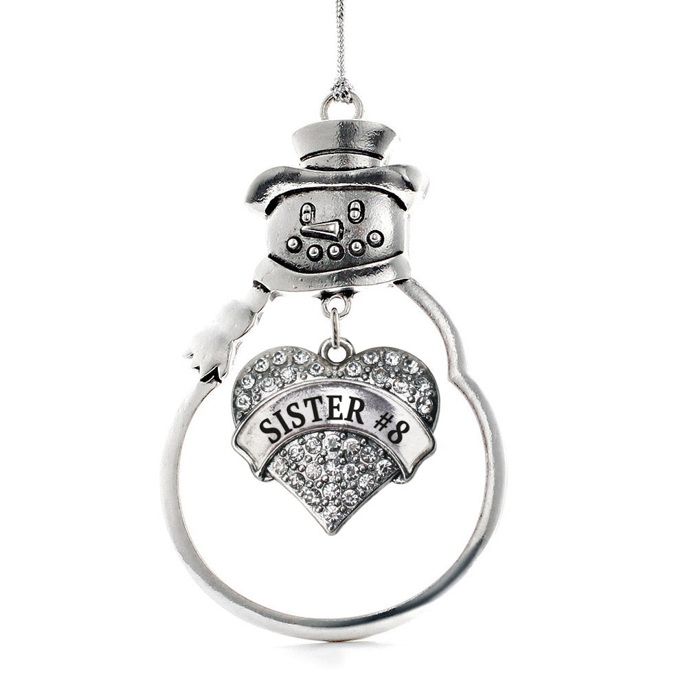 Sister #8 Pave Heart Charm Christmas / Holiday Ornament