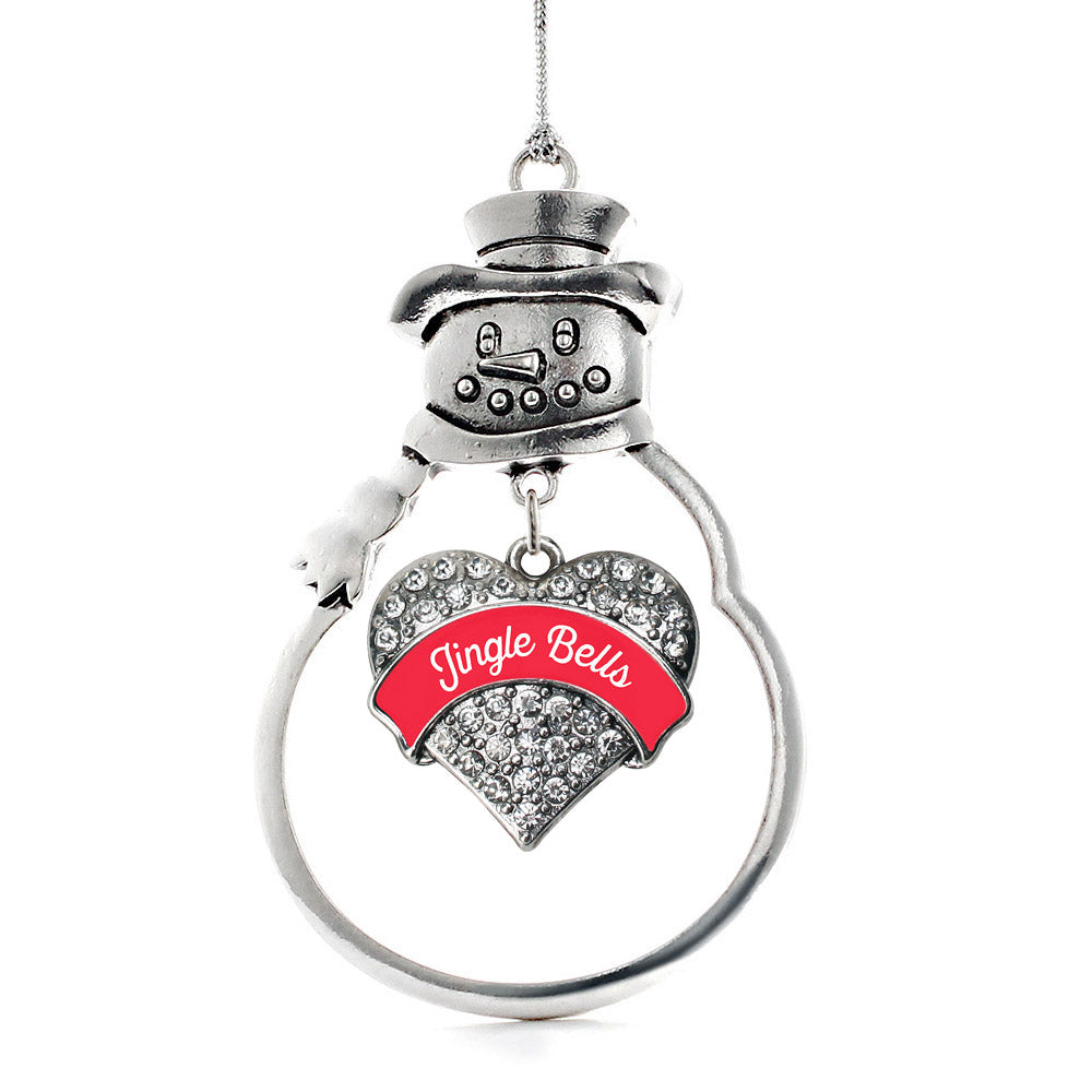 Red Jingle Bells Pave Heart Charm Christmas / Holiday Ornament