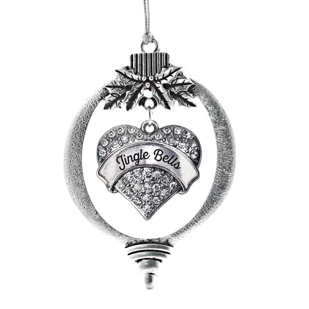 Jingle Bells Pave Heart Charm Christmas / Holiday Ornament