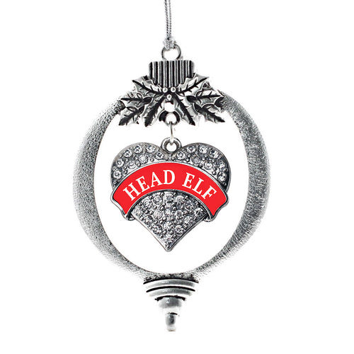 Red Banner Head Elf Pave Heart Charm Christmas / Holiday Ornament