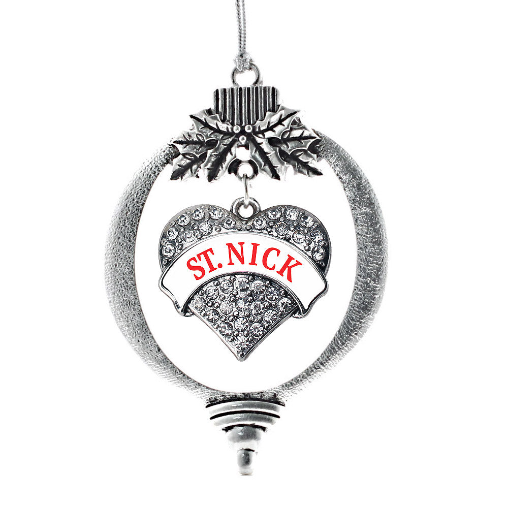 St. Nick Pave Heart Charm Christmas / Holiday Ornament