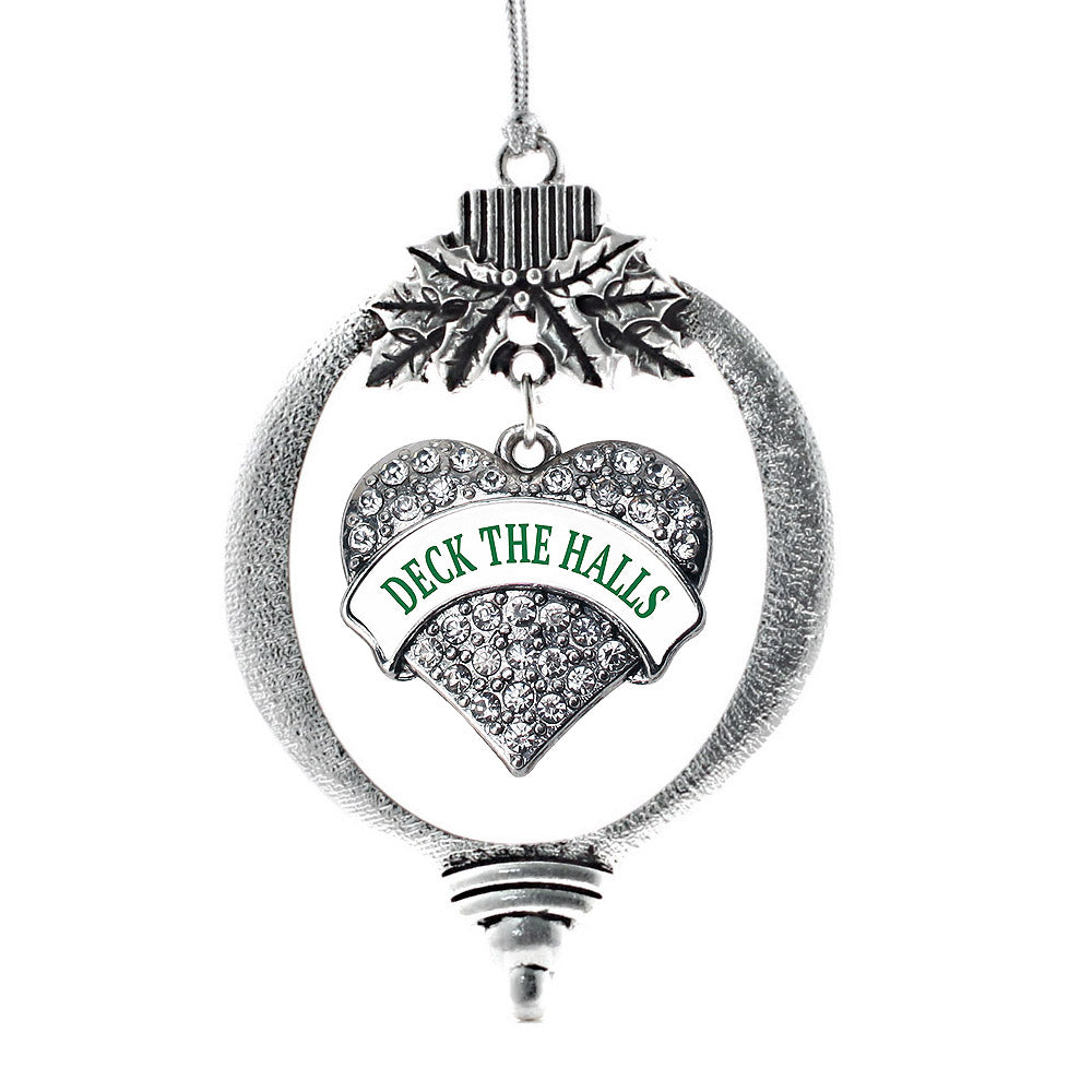 Deck the Halls Pave Heart Charm Christmas / Holiday Ornament