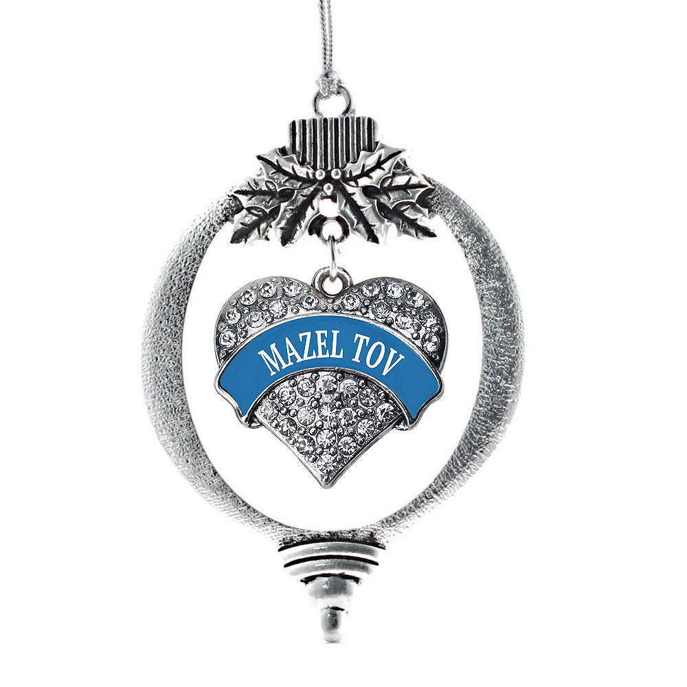 Blue Mazel Tov Pave Heart Charm Christmas / Holiday Ornament