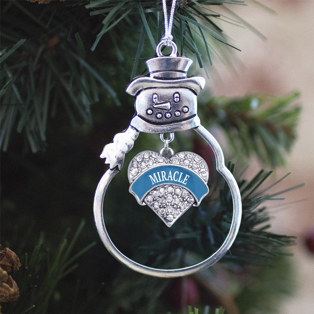 Blue Miracle Pave Heart Charm Christmas / Holiday Ornament