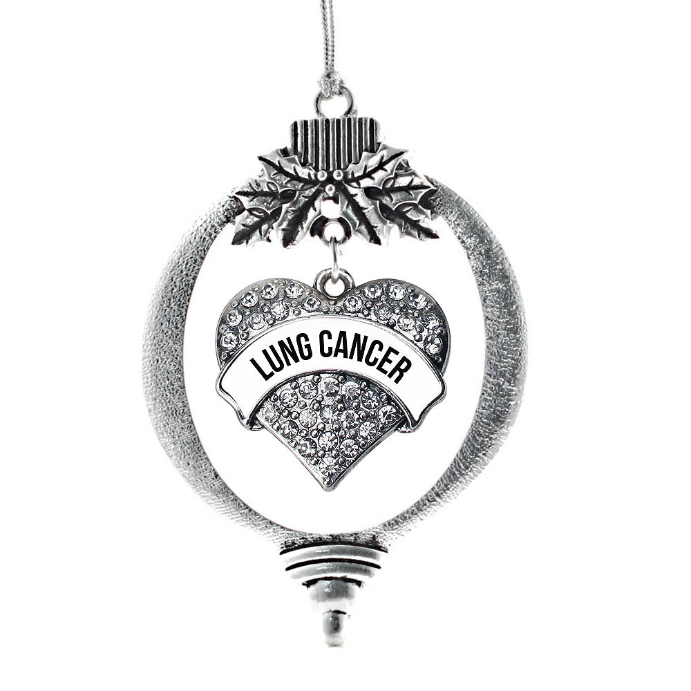 Lung Cancer Awareness Pave Heart Charm Christmas / Holiday Ornament