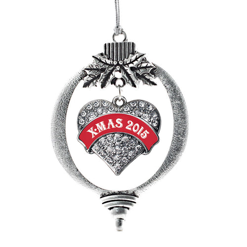 Red X-mas 2015 Pave Heart Charm Christmas / Holiday Ornament