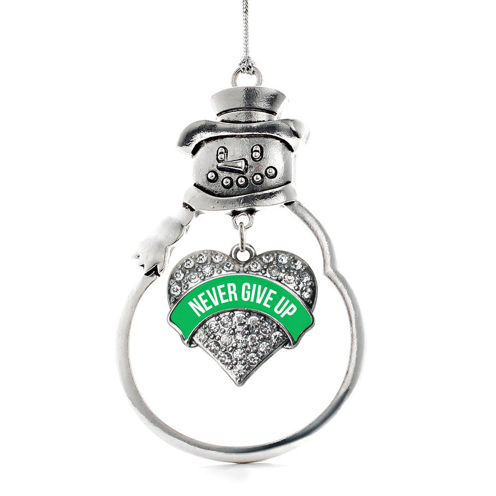 Green Never Give Up Pave Heart Charm Christmas / Holiday Ornament