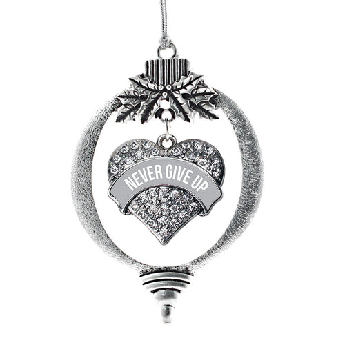 Gray Never Give Up Pave Heart Charm Christmas / Holiday Ornament