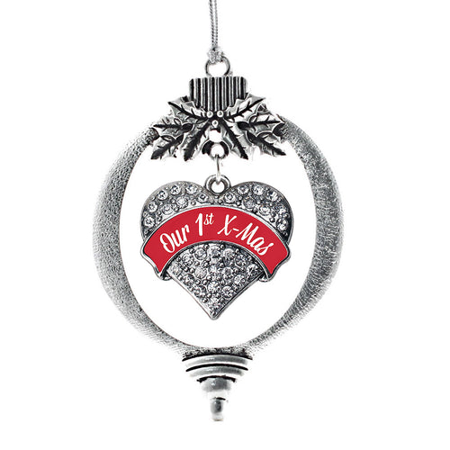 Red Our First X-Mas Pave Heart Charm Christmas / Holiday Ornament