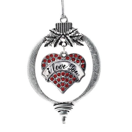 I Love You Handwritten Script Red Pave Heart Charm Christmas / Holiday Ornament