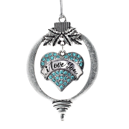 I Love You Handwritten Script Aqua Pave Heart Charm Christmas / Holiday Ornament