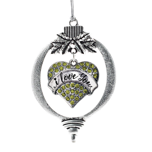 I Love You Handwritten Script Green Pave Heart Charm Christmas / Holiday Ornament