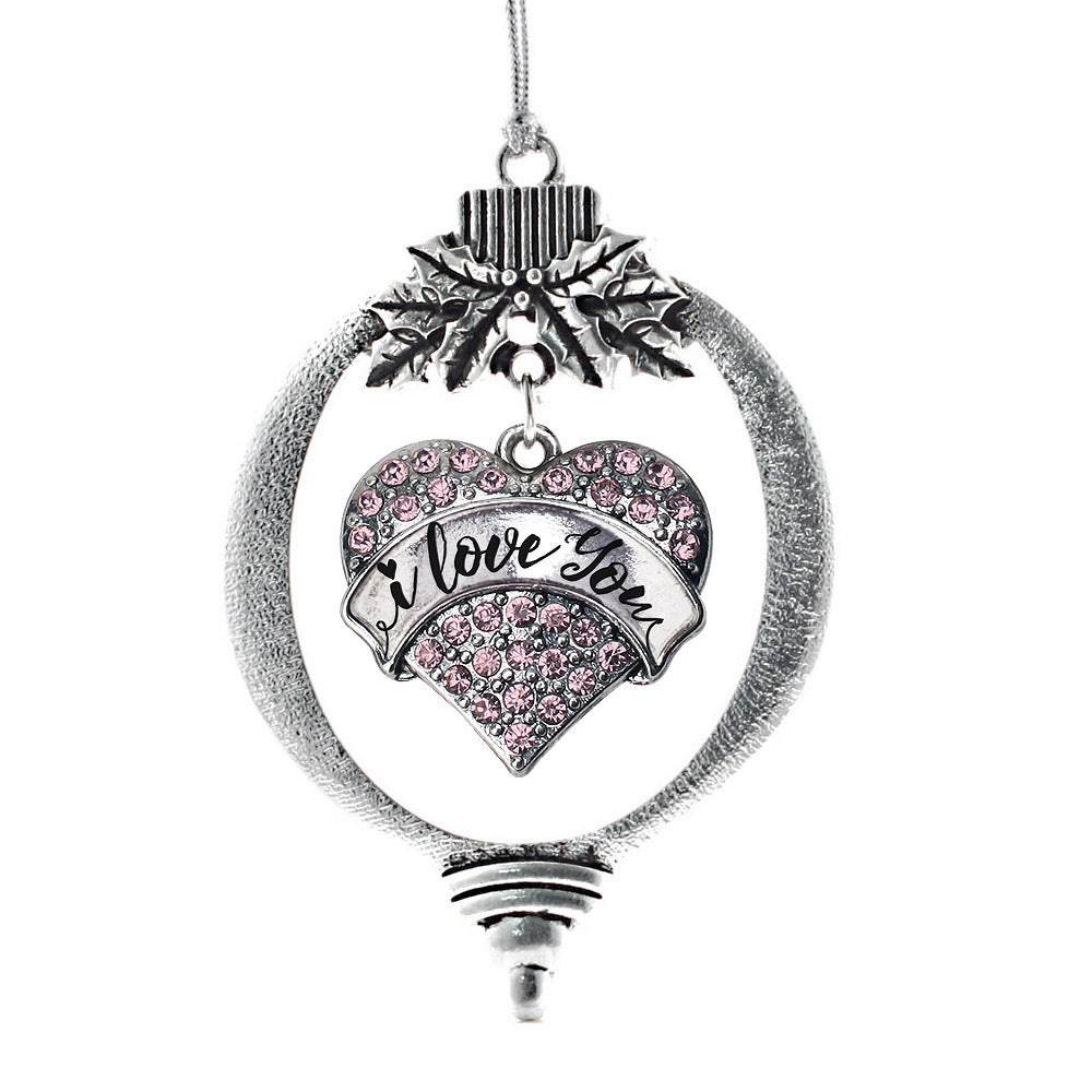 I Love You Handwritten Script Pink Pave Heart Charm Christmas / Holiday Ornament