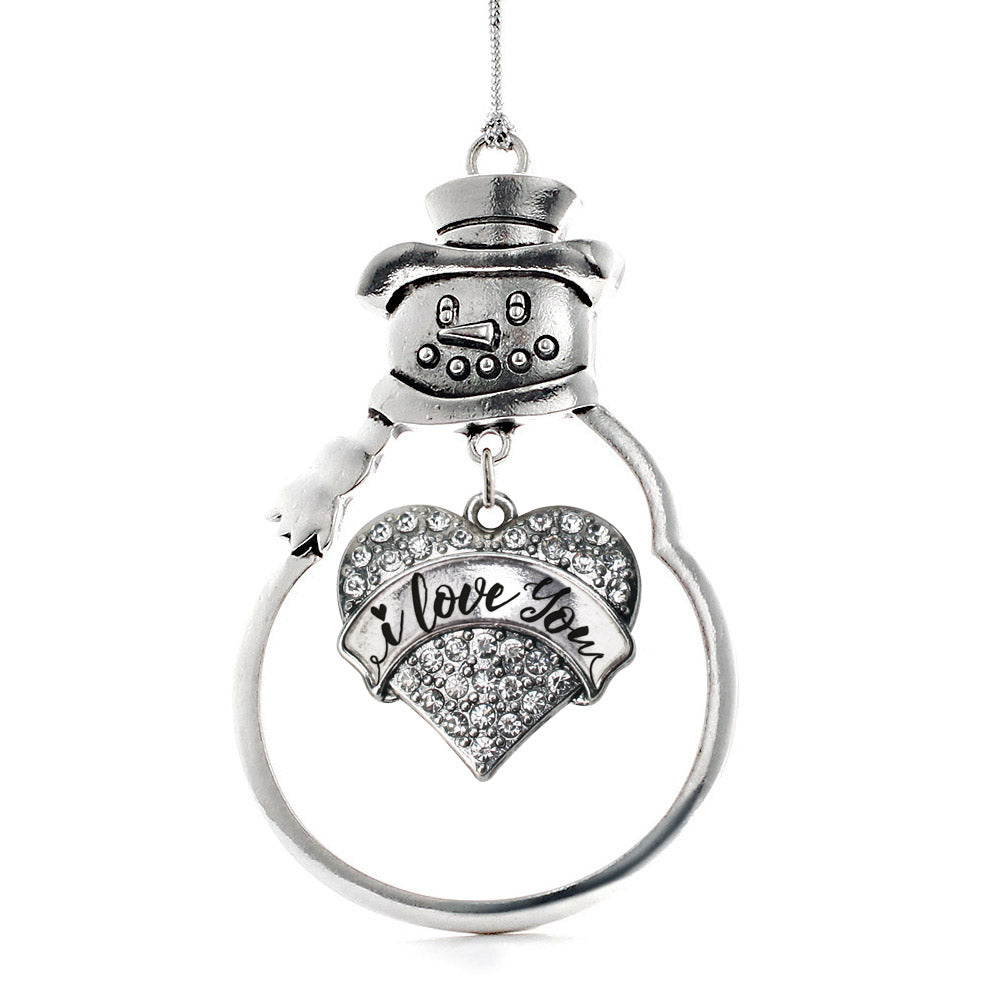 I Love You Handwritten Script Pave Heart Charm Christmas / Holiday Ornament
