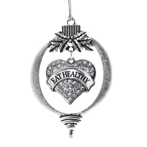 Eat Healthy Pave Heart Charm Christmas / Holiday Ornament