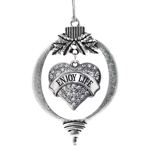 Enjoy Life Pave Heart Charm Christmas / Holiday Ornament