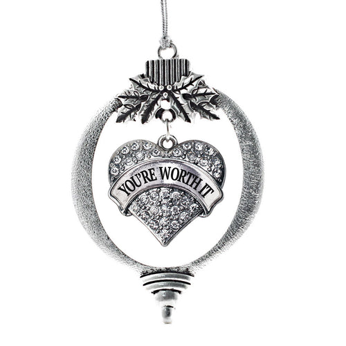 Your Worth It Pave Heart Charm Christmas / Holiday Ornament