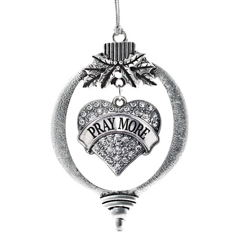 Pray More Pave Heart Charm Christmas / Holiday Ornament