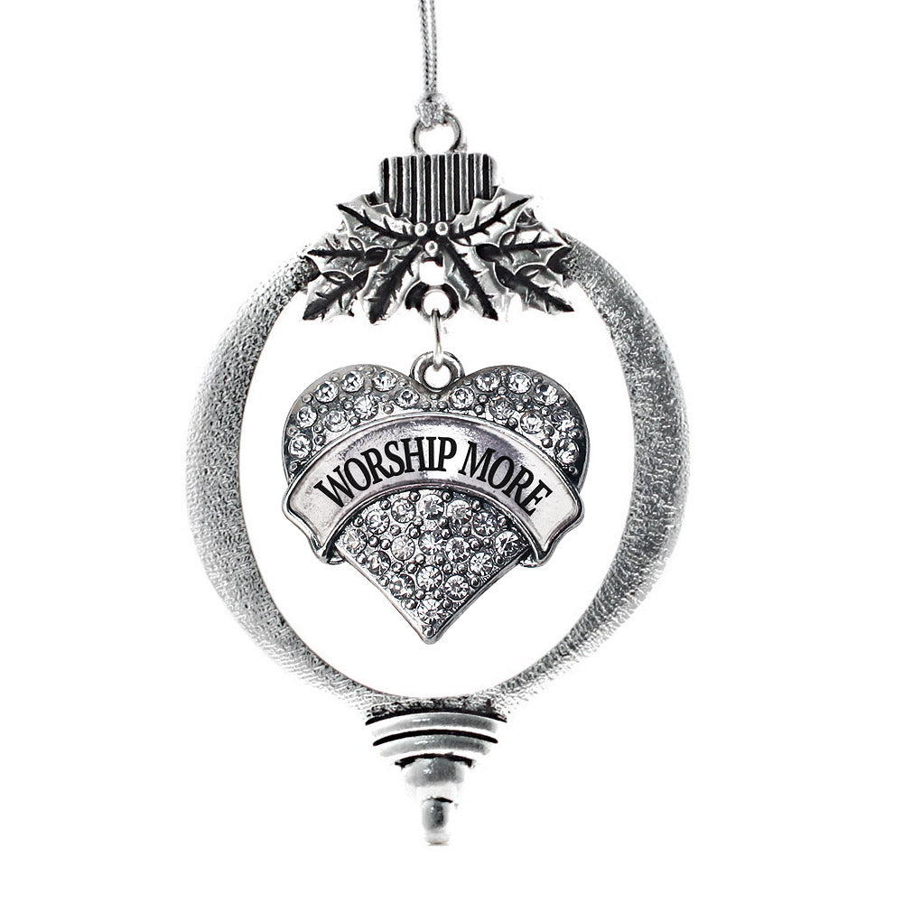 Worship More Pave Heart Charm Christmas / Holiday Ornament