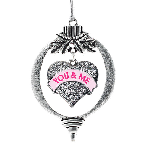 You & Me Pink Candy Pave Heart Charm Christmas / Holiday Ornament