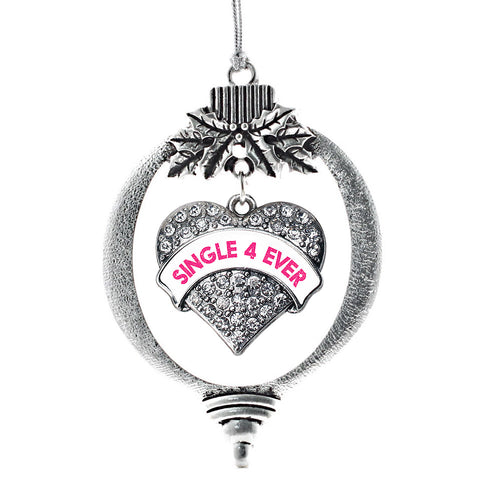 Single 4 Ever White Candy Pave Heart Charm Christmas / Holiday Ornament