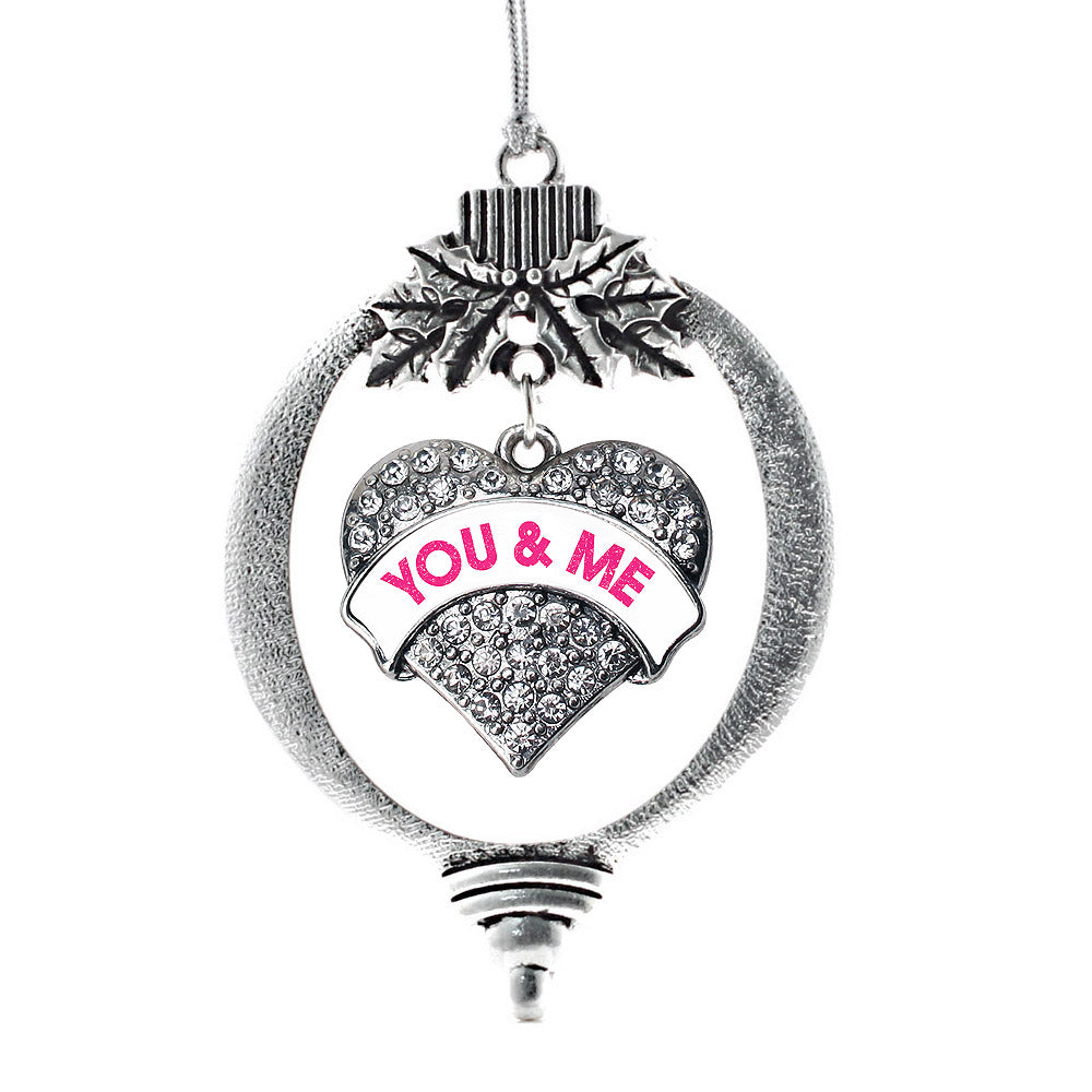 You & Me White Candy Pave Heart Charm Christmas / Holiday Ornament