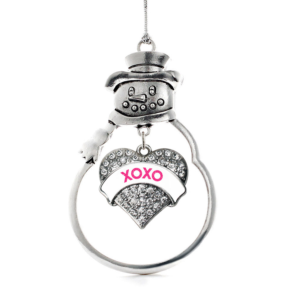 XOXO White Candy Pave Heart Charm Christmas / Holiday Ornament