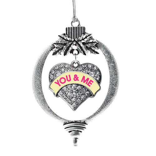 You & Me Yellow Candy Pave Heart Charm Christmas / Holiday Ornament