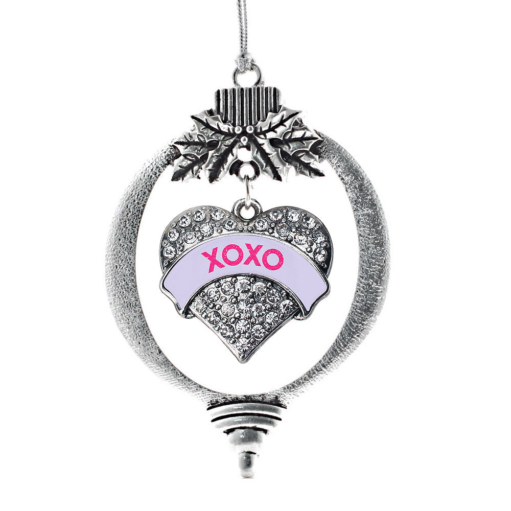 XOXO Purple Candy Pave Heart Charm Christmas / Holiday Ornament