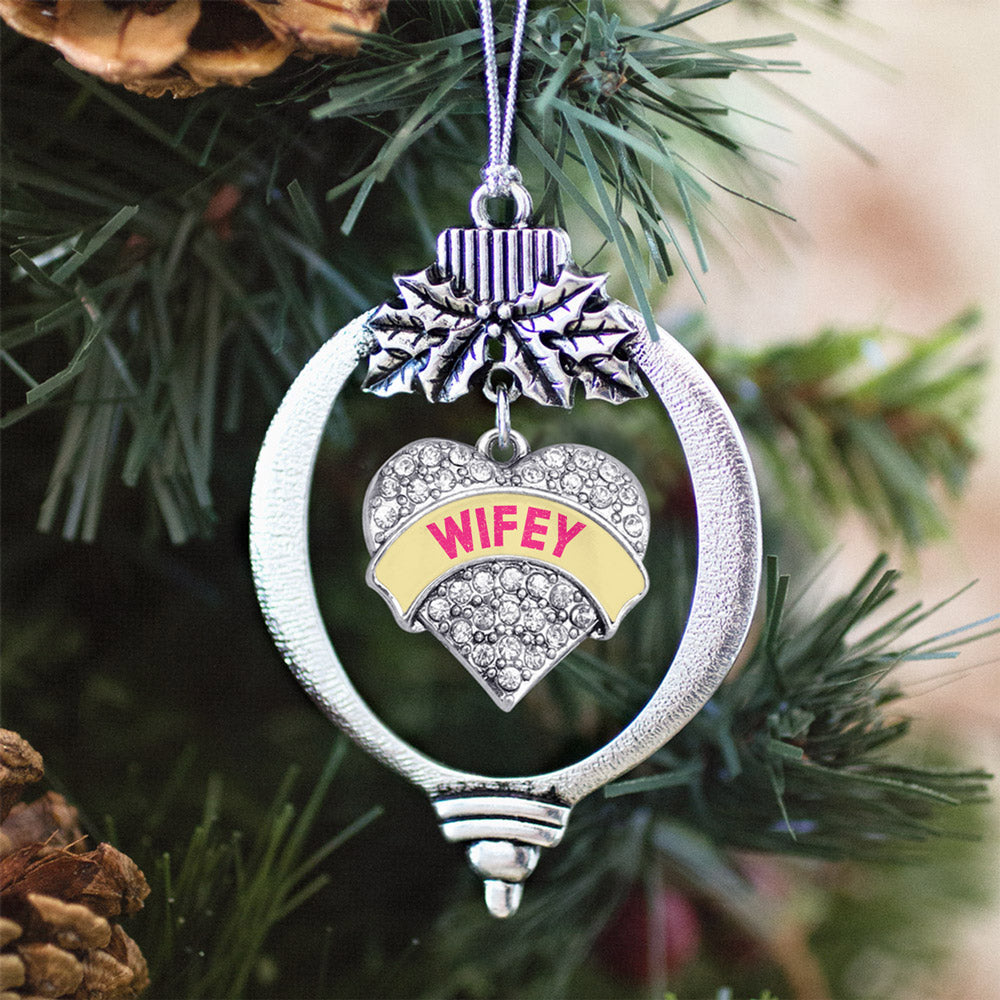 Wifey Yellow Candy Pave Heart Charm Christmas / Holiday Ornament