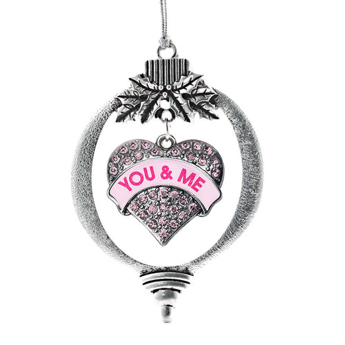 You & Me Candy Pink Pave Heart Charm Christmas / Holiday Ornament
