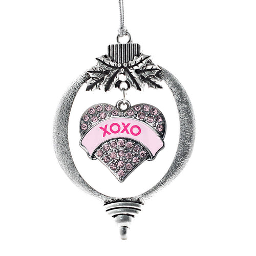 XOXO Candy Pink Pave Heart Charm Christmas / Holiday Ornament