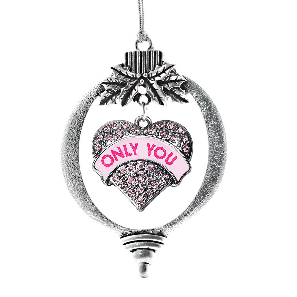 Only You Candy Pink Pave Heart Charm Christmas / Holiday Ornament