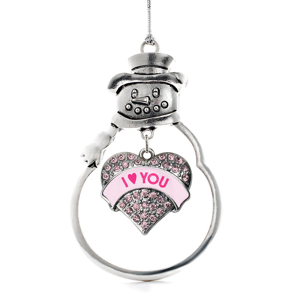 I Love You Candy Pink Pave Heart Charm Christmas / Holiday Ornament