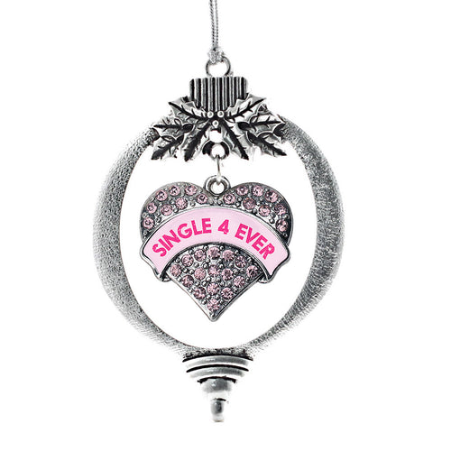 Single 4 Ever Candy Pink Pave Heart Charm Christmas / Holiday Ornament