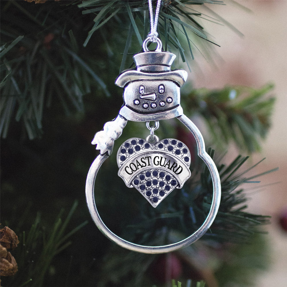 Navy Blue Coast Guard Pave Heart Charm Christmas / Holiday Ornament