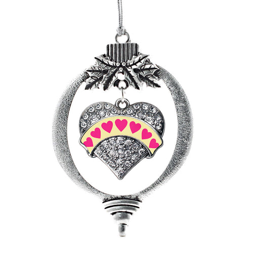Yellow Candy Pave Heart Charm Christmas / Holiday Ornament