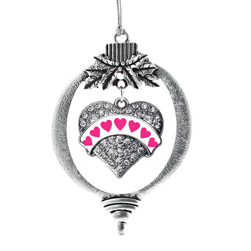 White Candy Pave Heart Charm Christmas / Holiday Ornament