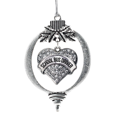 School Bus Driver Pave Heart Charm Christmas / Holiday Ornament