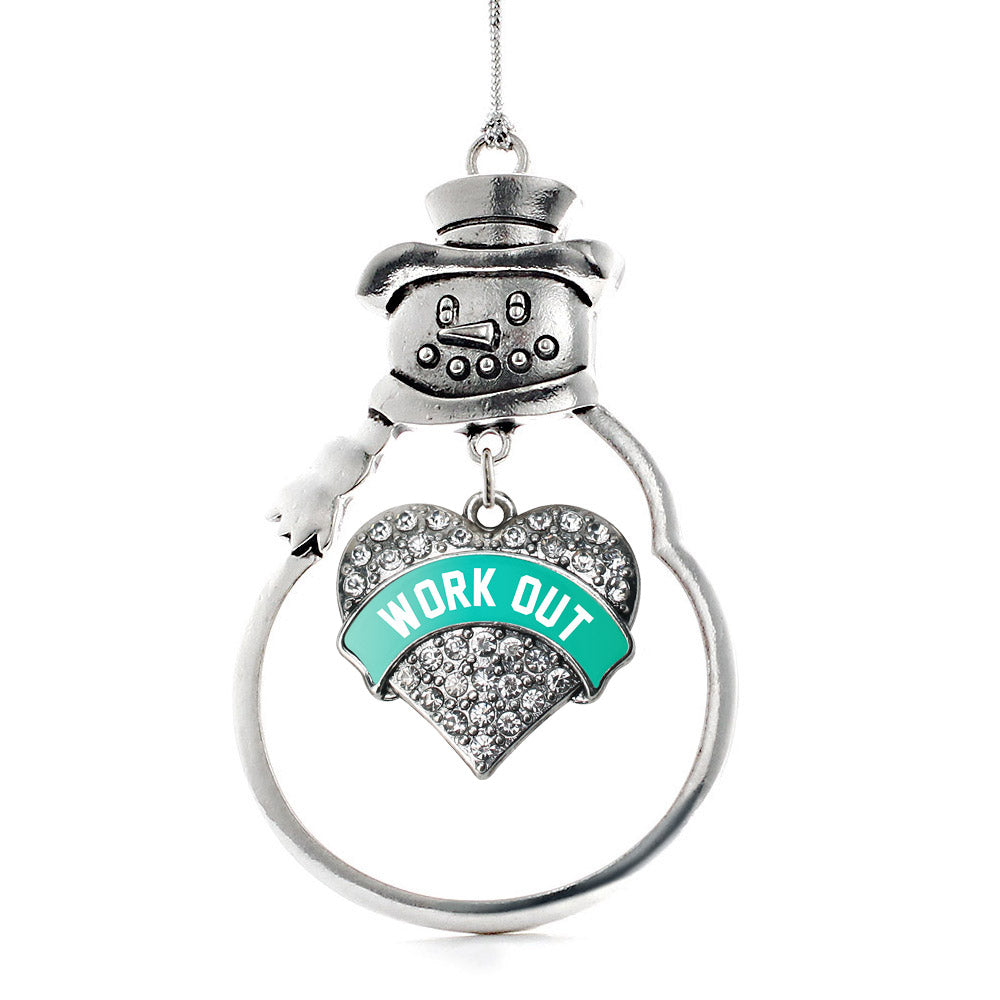 Teal Workout Pave Heart Charm Christmas / Holiday Ornament