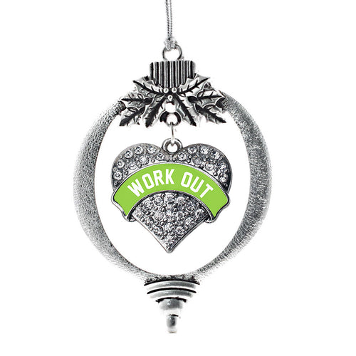 Green Workout Pave Heart Charm Christmas / Holiday Ornament