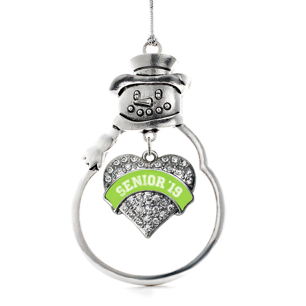 Lime Green Senior 2019 Pave Heart Charm Christmas / Holiday Ornament