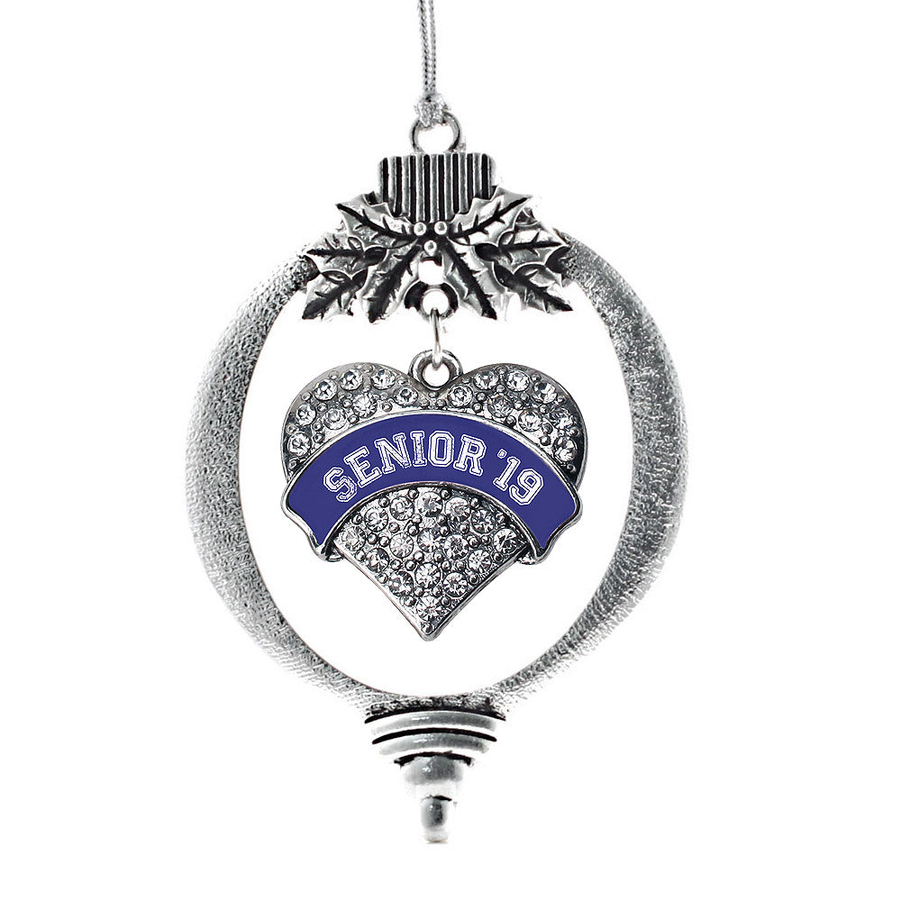 Navy Blue Senior 2019 Pave Heart Charm Christmas / Holiday Ornament