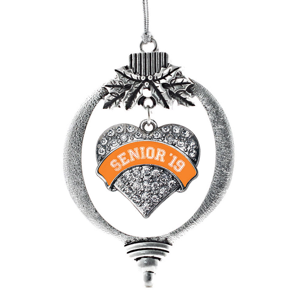 Orange Senior 2019 Pave Heart Charm Christmas / Holiday Ornament