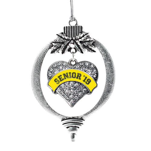 Yellow Senior 2019 Pave Heart Charm Christmas / Holiday Ornament