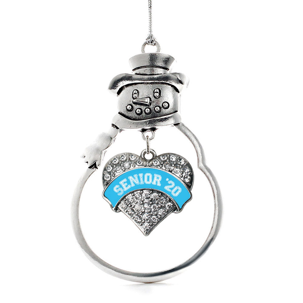 Blue Senior 2020 Pave Heart Charm Christmas / Holiday Ornament